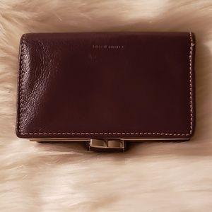 Genuine leather purple wallet